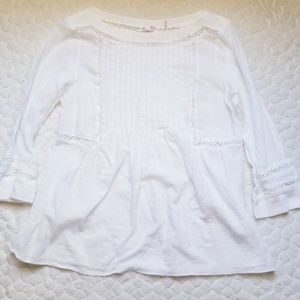 Rebecca Taylor white blouse 3/4 sleeve Victorian 4